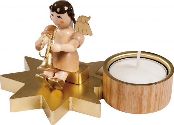 Richard Glässer - Engel nat.mittel mit Trompete auf Stern f. Teelicht