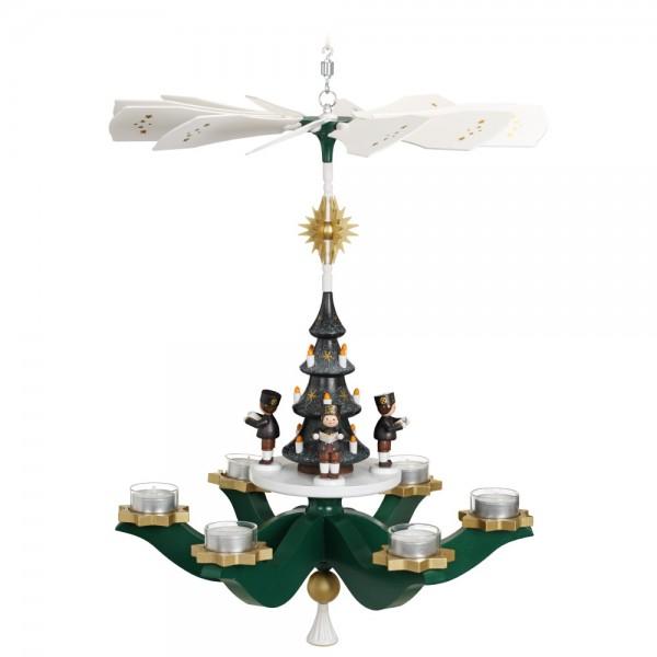 Zeidler - Hängepyramide Bergmänner, Grün, für 6 Teelichter