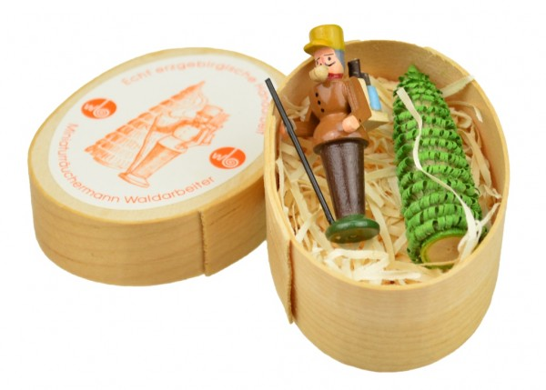 Wolfgang Braun - Miniatur in Spandose Räuchermann Waldarbeiter