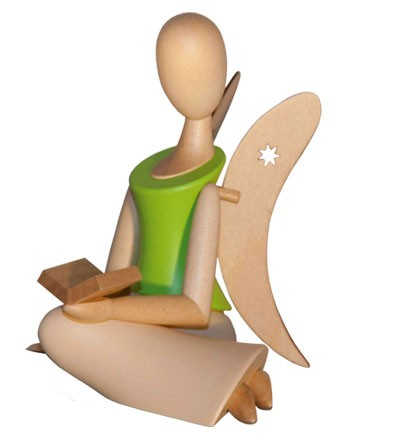 Kollektion Sternkopf - Engel sitzend mit Buch (grün)