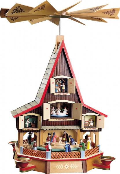 Richard Glässer - Adventshaus, Krippe u. Fenster 4. Advent elektrisch beleuchtet