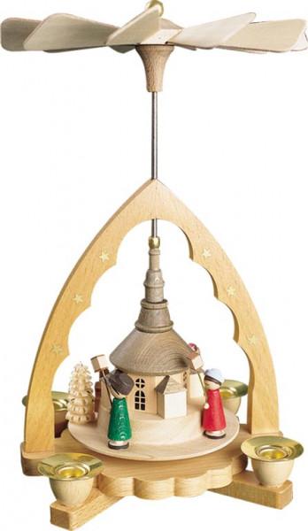 Richard Glässer - Pyramide Seiffener Kirche mit Laternenkinder, natur