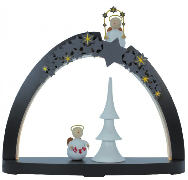Rauta Edition FG - LED-Schwibbogen modernes Design Sternenhimmel mit Engel anthrazitgrau