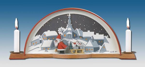 Klaus Kolbe - Schwibbogen mit Weihnachtsmann und el. Hintergrundbeleuchtung