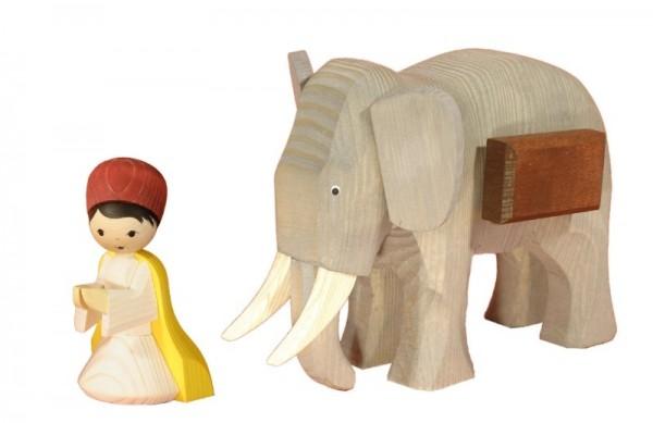 Ulmik - Elefantentreiber, mittel 2-teilig gebeizt 13 cm