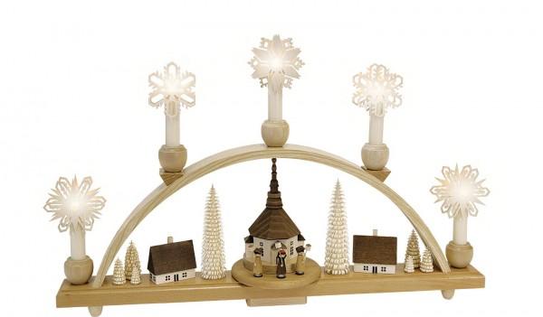 Richard Glässer - Schwibbogen Laternenkinder mit Seiffener Kirche, elektrisch beleuchtet