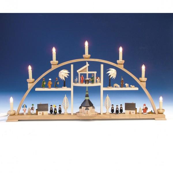 Knuth Neuber - Schwibbogen Etagen natur Seiffener Kurrende und Christi Geburt elektr. beleuchtet